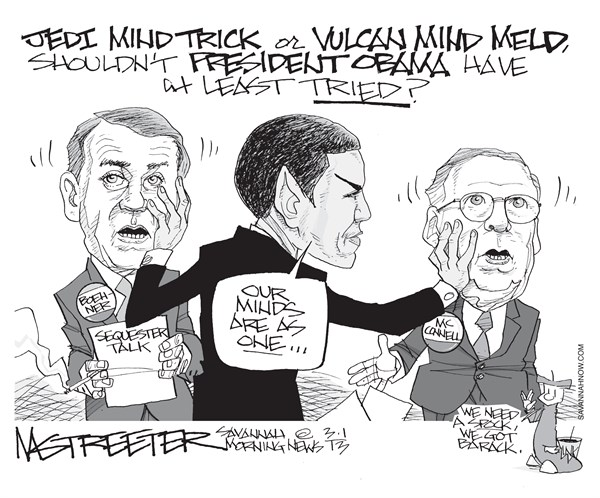 Obami Wan © Mark Streeter,The Savannah Morning News,obama and boehner,jedi,sequester,sequestration