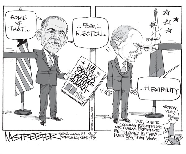 Making A Point © Mark Streeter,The Savannah Morning News,obama,putin,russia,cancel,summit