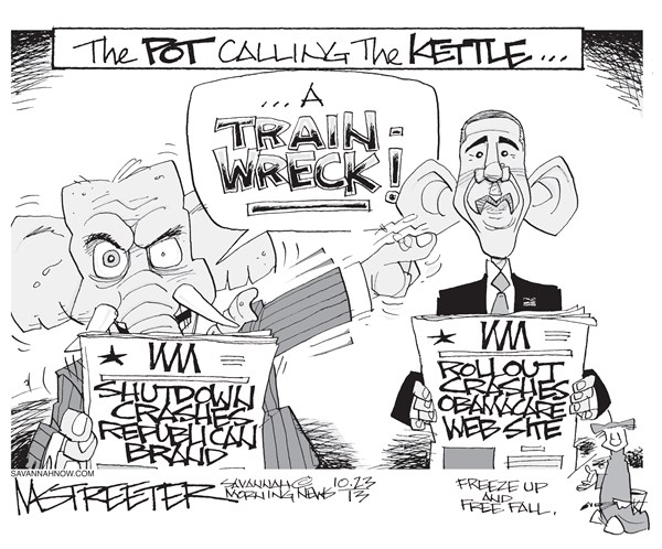 Sticks and Stones © Mark Streeter,The Savannah Morning News,shutdown over,obamacare,obamacare exchange