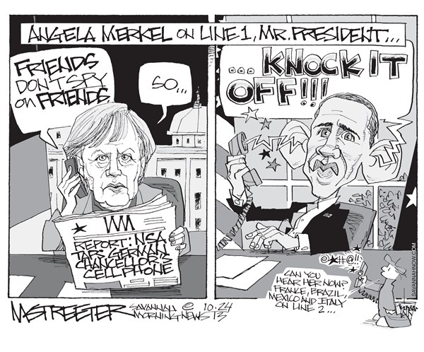 Another Snowden Flurry © Mark Streeter,The Savannah Morning News,nsa,german,cellphone,obama