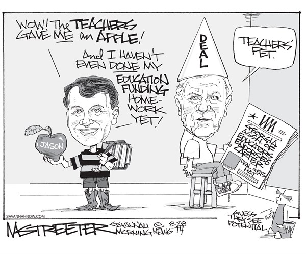 Tales of the Not Unexpected © Mark Streeter,The Savannah Morning News,teacher,apple,education,homework,deal
