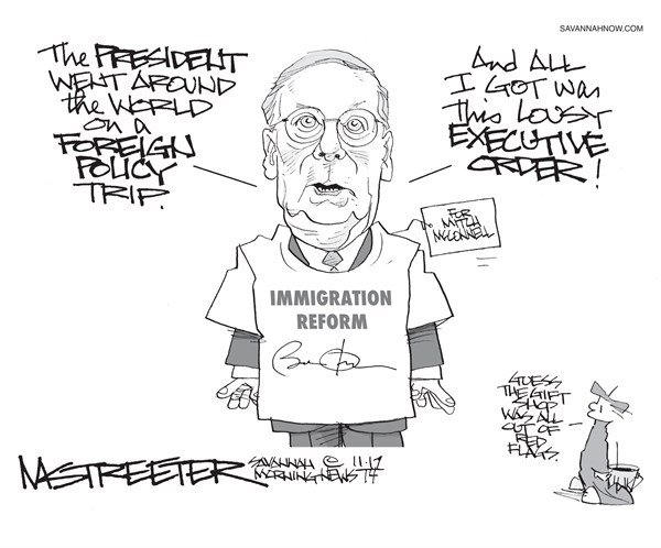 One Size Fits Millions © Mark Streeter,The Savannah Morning News,president,foreign policy,immigration reform,trip