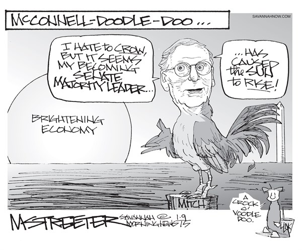 Cock Of The Walk © Mark Streeter,The Savannah Morning News,cock,walk,mcdonnell,doodle,economy,leader,crow,senate