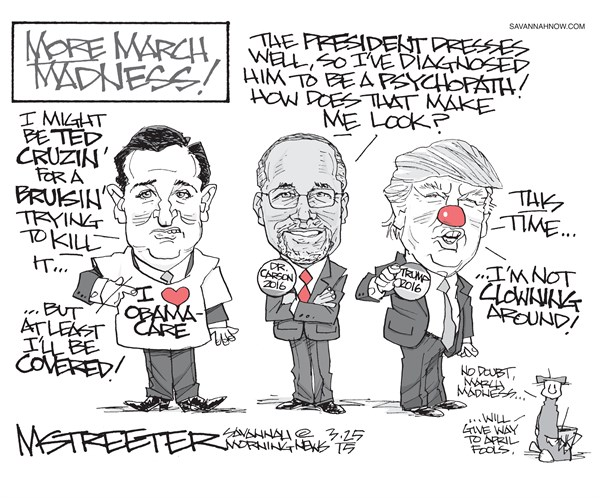 Insanity II © Mark Streeter,The Savannah Morning News,insanity,obamacare,ted cruz,march madness,trump,donald-trump-2016,ted-cruz-2016