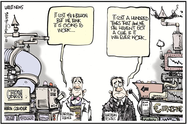Science vs Politics © Martyn Turner,The Irish Times, Dublin,science,technology,politics,European,Eurozone,Euro