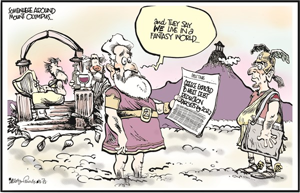 Mount Olympus © Martyn Turner,The Irish Times, Dublin,mount,olympus,debt,reduction,fantasy,euro