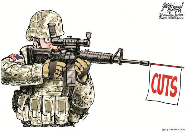 Defense Cuts © Gary Varvel,The Indianapolis Star News,defense,budget,cuts,military,soldiers,troops
