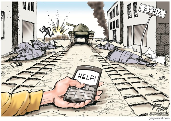 Help © Gary Varvel,The Indianapolis Star News,syria,regime,help,violence,terror