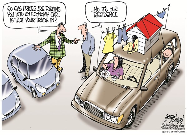 Life in a Car © Gary Varvel,The Indianapolis Star News,gas,prices,car,home,economy,residence,family