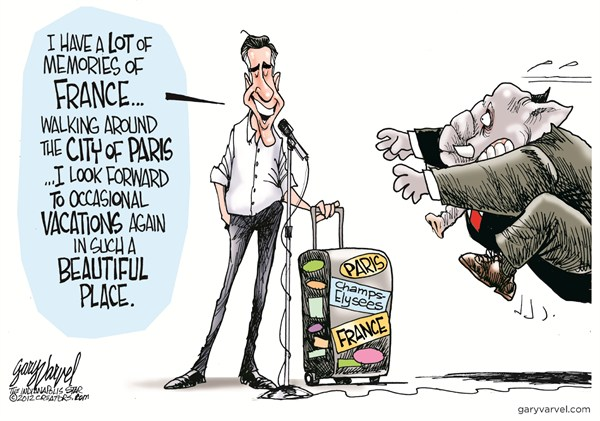 Romney in France © Gary Varvel,The Indianapolis Star News,mitt romney,france,vacation,campaign,election,gop,paris