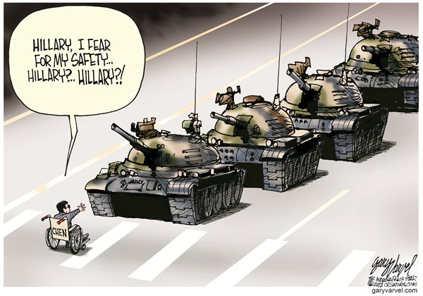 Chens Safety © Gary Varvel,The Indianapolis Star News,chen guangcheng,china,safety,hillary,tanks,rights,abuse,activist
