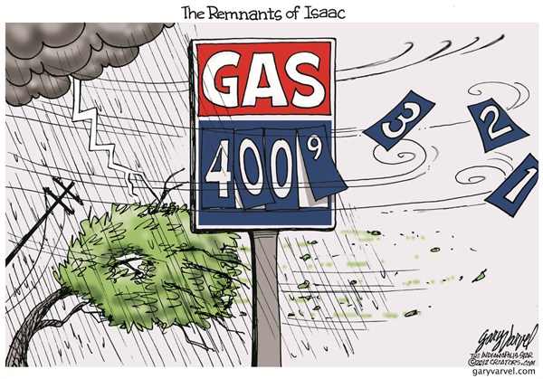 Remnants of Issac © Gary Varvel,The Indianapolis Star News,gas,prices,hurricane,isaac,money,car,drive,storm,gulf,fuel,flood,hurricane-2012