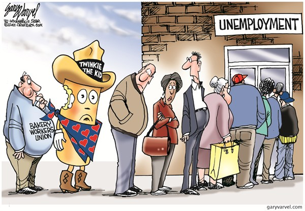Twinkie Unemployment © Gary Varvel,The Indianapolis Star News,hostess,twinkie,work,donut,line,bankrupt,hostess-bankruptcy,hostess bankruptcy