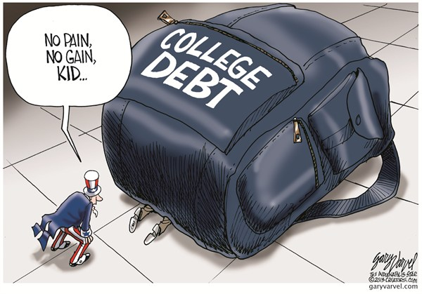 College Debt © Gary Varvel,The Indianapolis Star News,college,debt,school,loans,money,finance