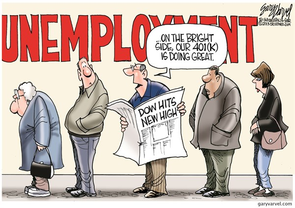 Dow Hits New High © Gary Varvel,The Indianapolis Star News,dow,record,high,401k,line,dow-jones-record
