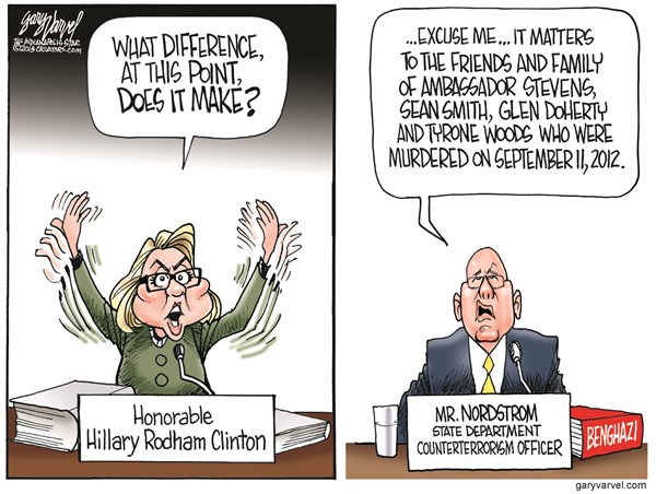 Hillarys Difference © Gary Varvel,The Indianapolis Star News,hillary clinton,benghazi coverup,difference