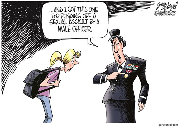 Sexual Assault © Gary Varvel,The Indianapolis Star News,military,sex,assault,epidemic,soldiers,troops,women,military-sexual-assaults