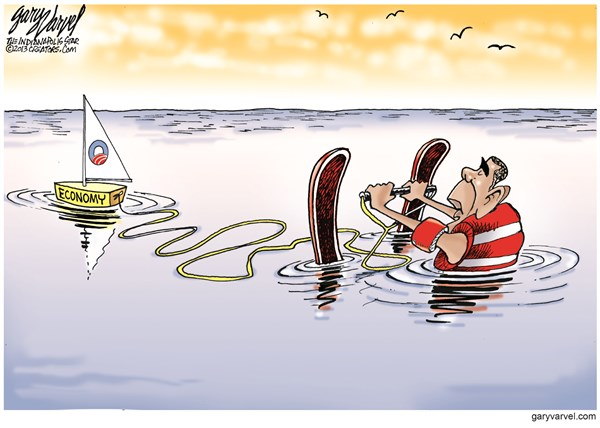 Sailing Economy © Gary Varvel,The Indianapolis Star News,obama,sailing,sinking,stalled