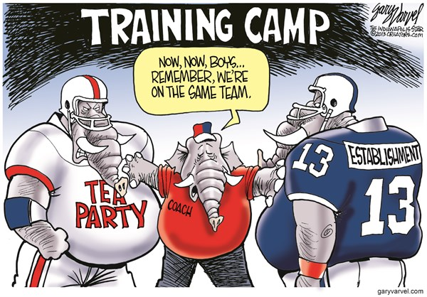 Training Camp © Gary Varvel,The Indianapolis Star News,tea party,establishment,game,team,players,gop,training