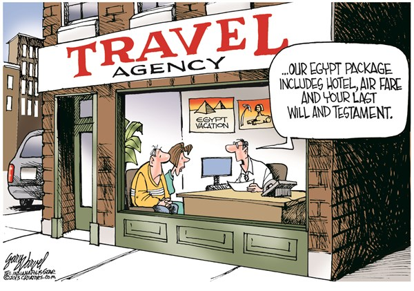 Egypt Package © Gary Varvel,The Indianapolis Star News,egypt,egypt failing,will,testament,security,violence,travel,hotel,fighting,life