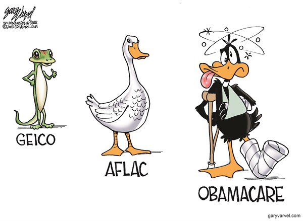 Insurance Plans © Gary Varvel,The Indianapolis Star News,obamacare,geico,afflack,obama,health,insurance,plan,obamacare-exchange