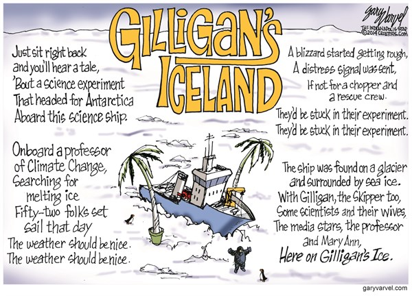 Gilligans Iceland © Gary Varvel,The Indianapolis Star News,frozen 2013,global warming,global warming 2014
