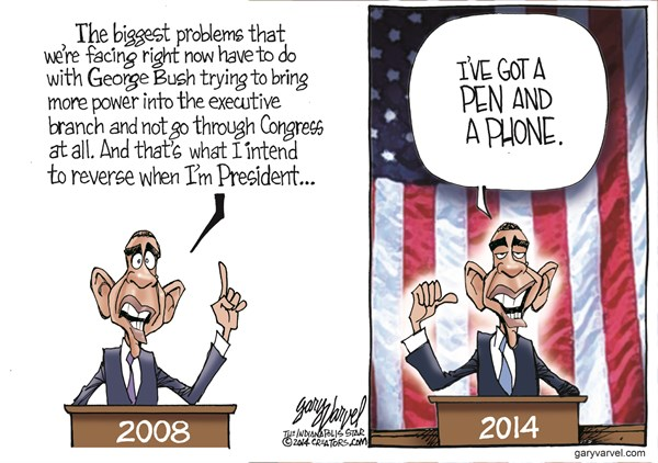 Pen and a Phone © Gary Varvel,The Indianapolis Star News,obama,pen,phone,president