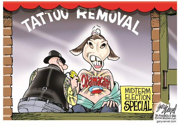 Tattoo Removal © Gary Varvel,The Indianapolis Star News,obamacare,tattoo,removal,health care,insurance,midterm