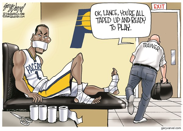Taped Up © Gary Varvel,The Indianapolis Star News,pacers,taped,lance,player,basketball