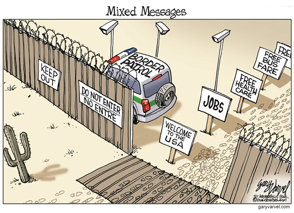 Mixed Messages © Gary Varvel,The Indianapolis Star News,border,immigrants,security,jobs,usa,immigration-mess