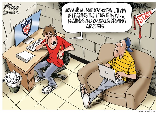 Fantasy Football Team © Gary Varvel,The Indianapolis Star News,nfl,football,beating,fantasy football,nfl-child-abuse,nfl-domestic-violence