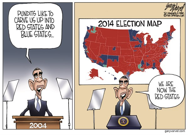 The Red States © Gary Varvel,The Indianapolis Star News,obama,states,red,blue,election