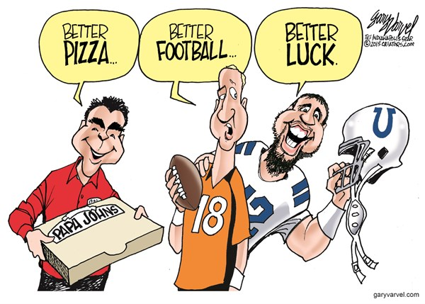 Better Luck © Gary Varvel,The Indianapolis Star News,pizza,football,luck,papa johns