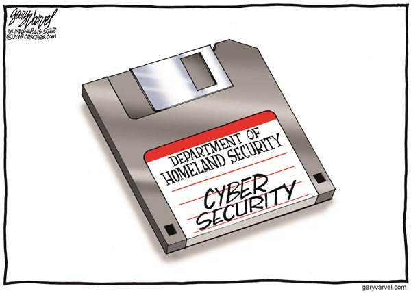 Cyber Security © Gary Varvel,The Indianapolis Star News,cyber,security,homeland