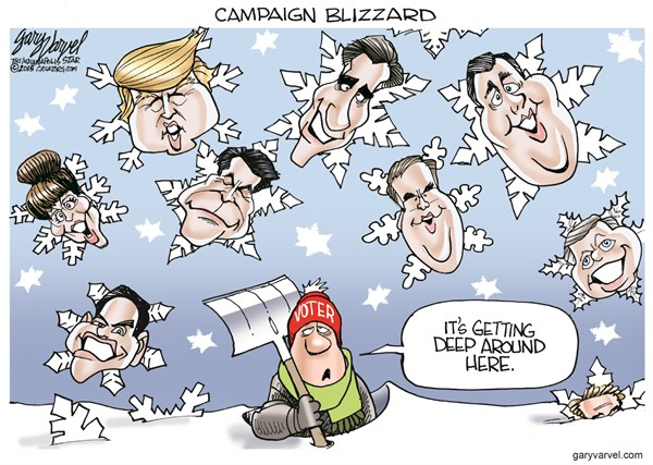 Campaign Blizzard © Gary Varvel,The Indianapolis Star News,romney 2016,campaign,blizzard,cold,winter