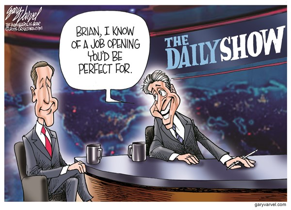 Job Opening © Gary Varvel,The Indianapolis Star News,job,daily show,jon stewart,brian williams,,brian-williams,jon-stewart