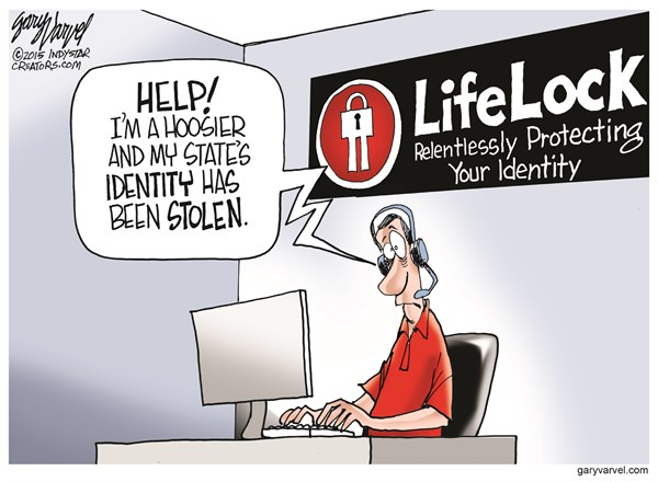 Stolen Identity © Gary Varvel,The Indianapolis Star News,lifelock,identity,stolen,hoosier,state,indiana,indiana-freedom-act