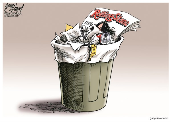 Rolling Stone Trash © Gary Varvel,The Indianapolis Star News,rolling stone,trash,credibility,story,rape,uva,journalist,rolling-stone-credibility