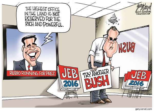Rubio Running for Prez © Gary Varvel,The Indianapolis Star News,jeb bush,marco rubio,rich,campaign,election,rich,marco-rubio-2016