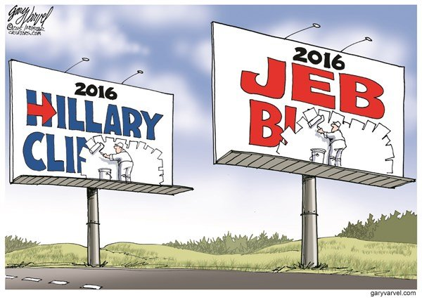 First Name Candidates © Gary Varvel,The Indianapolis Star News,jeb bush 2016,hillary clinton 2016,candidates,names,campaign