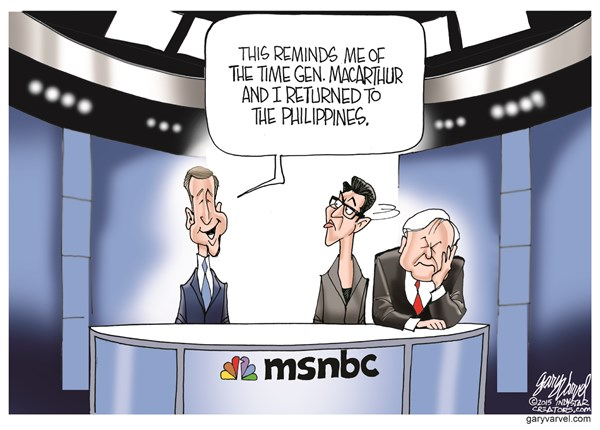 Brian Williams Is Back © Gary Varvel,The Indianapolis Star News,brian williams,msnbc,philippines