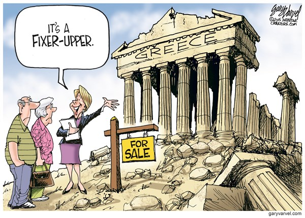 Fixer Upper © Gary Varvel,The Indianapolis Star News,greek crisis,fix,euro,crisis,sale,money,greece-troubles