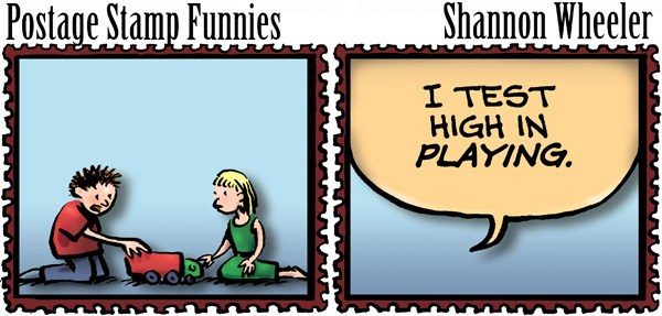 Postage Stamp Funnies © Shannon Wheeler,Too Much Coffee Man!,test,playing,postage,stamp,funnies