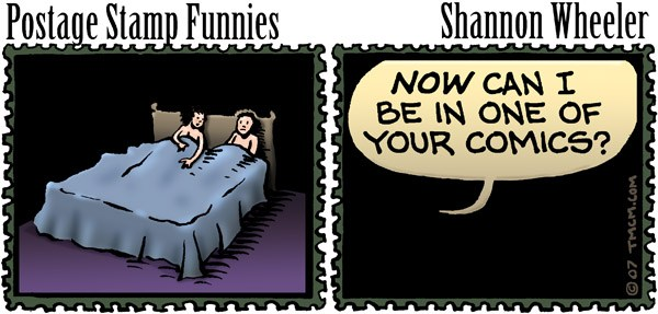 Postage Stamp Funnies © Shannon Wheeler,Too Much Coffee Man!,postage,stamp,funnies,sex,favors,comics,sleep