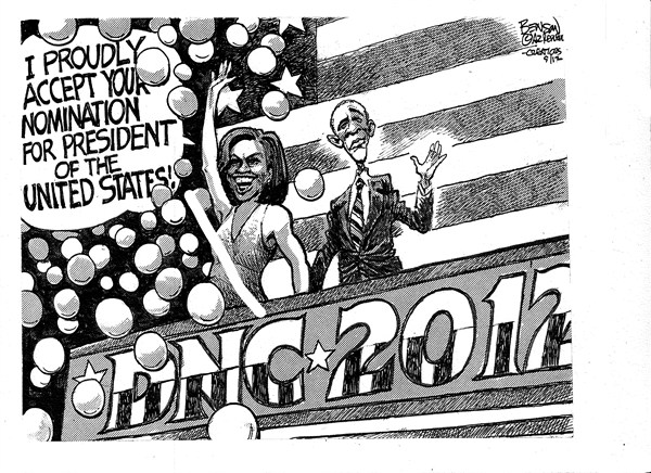 Obama Nomination © Steve Benson,Arizona Republic,michelle,obama,dnc,2012,campaign,election,nomination,democratic-convention-2012