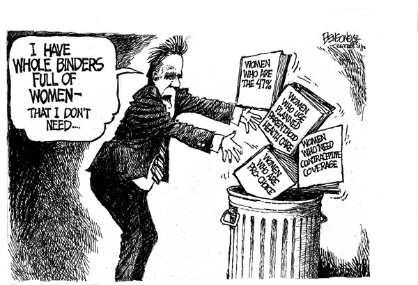 Binders © Steve Benson,Arizona Republic,binders,women,romney,debate,planned parenthood,coverage,women-voters,binder-full-of-women
