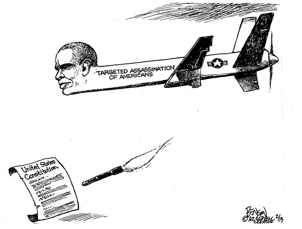 Obamas Drone © Steve Benson,Arizona Republic,assassination,americans,constitution,obama,target,drone, obama drones
