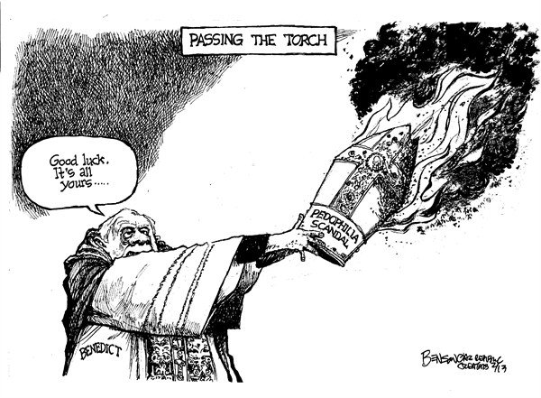 Passing the Torch © Steve Benson,Arizona Republic,pope benedict,church,pope,resign,sex,abuse,victims,pedophile,scandal,Pope Benedict resigns, Pope Benedict XVI