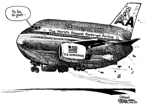 Airline Merger © Steve Benson,Arizona Republic,airline,merger,american,us airways,fly,airplane