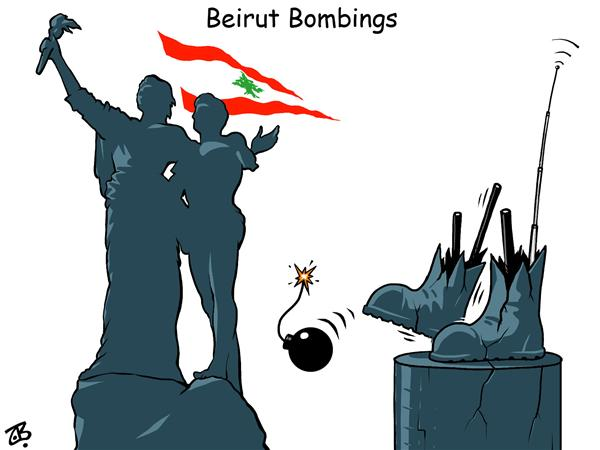 Emad Hajjaj - Jordan - Beirut bombings - English - lebanon flag hajjaj syria martyre place statue down twon demonstrations people freedom independence divide flag arab bombings middle east march hajjaj opposition hasan rafiq arrow divided hariri